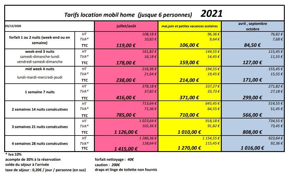 Tarifs location mobile home 2021